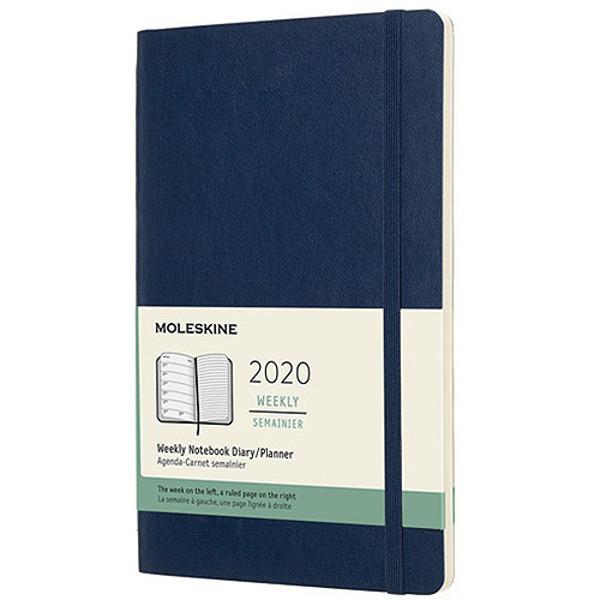 Picture of agenda Moleskine 2020 12M Weekly Notebook Large 130x210mm 7/1 + notitieblad blauw - soft