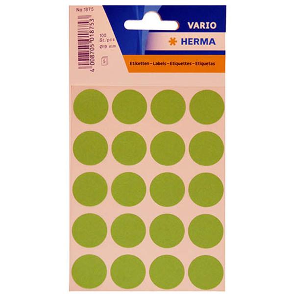 Bild von etiket Herma   19mm rond 100stuks groen