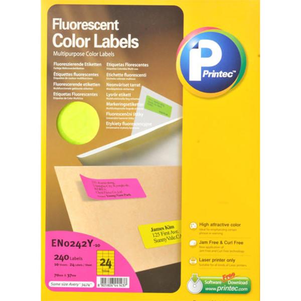 Picture of etiket Printec  70.0x 37.0mm 10vel neon geel
