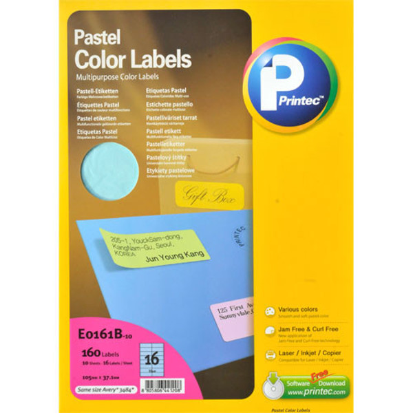 Afbeelding van etiket Printec 105.0x 37.0mm 10vel pastel blauw