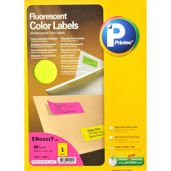 Picture of etiket Printec 210.0x297.0mm 10vel neon geel