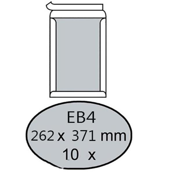 Afbeelding van envelop bordrug Quantore   262x371mm  10stuks 120gr wit EB4 zelfklevend