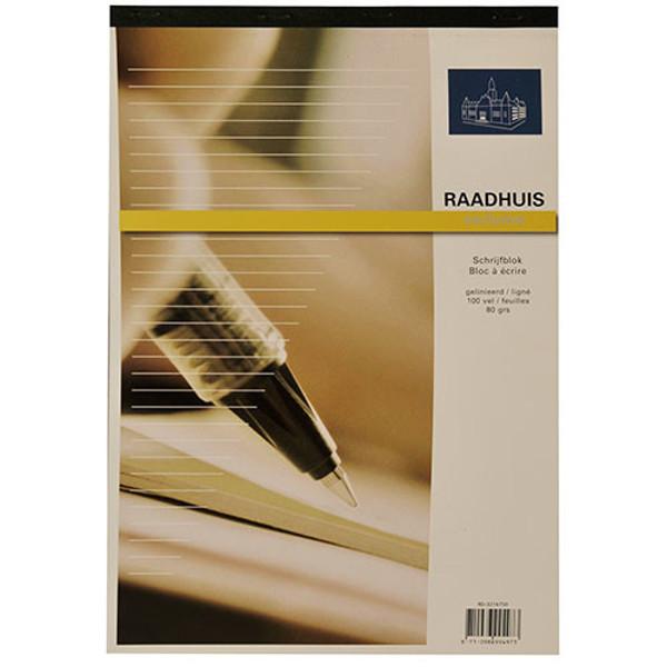 Afbeelding van schrijfblok Raadhuis Exclusive A4 80gr gelijnd