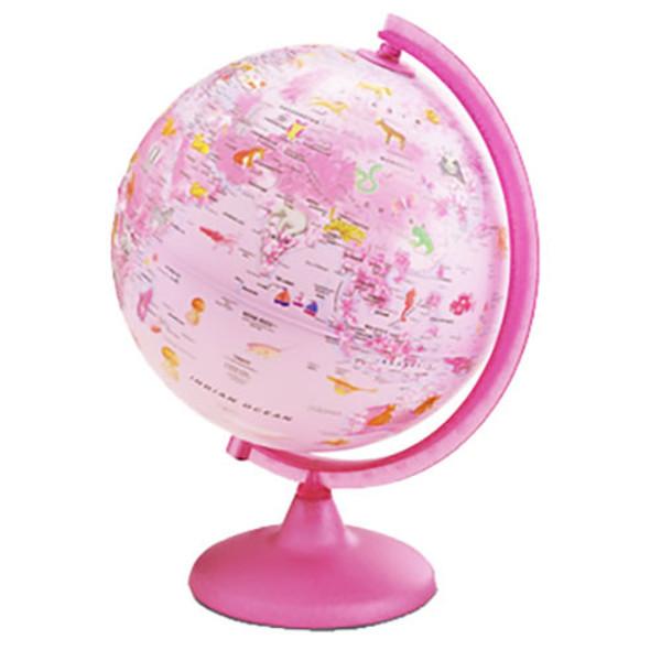 Afbeelding van globe Tecnodidattica 25cm Pink Zoo met verlichting