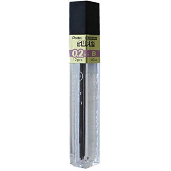 Afbeelding van potloodstift Pentel Super Hi-Polymer 0.2mm  B 12stuks