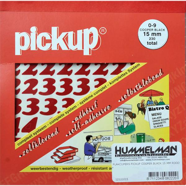 Afbeelding van plakcijfers Pickup Cooper black 15mm rood