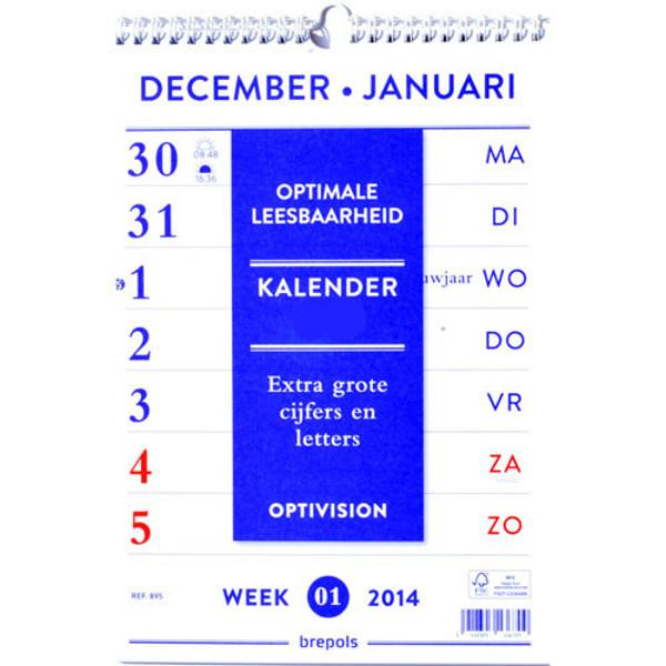 Bild von kalender Brepols 2021 Optivision weekkalender - bovenspiraal