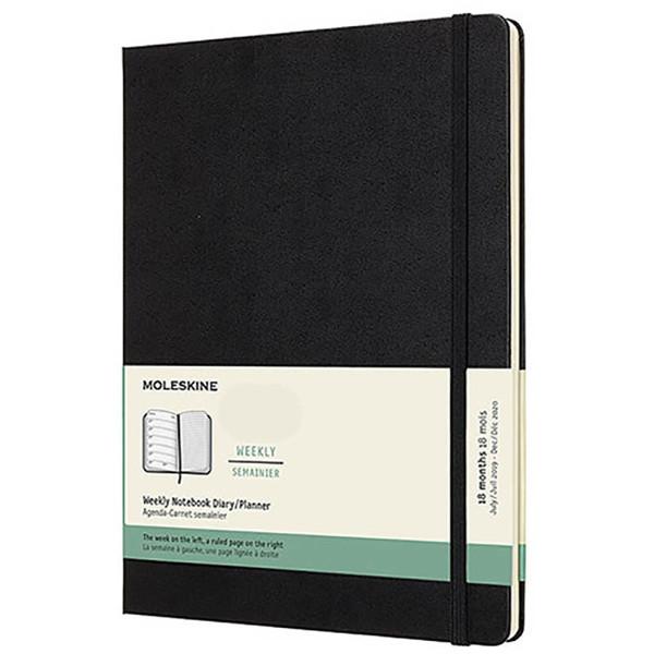 Bild von agenda Moleskine 2020/2021 18M Weekly Notebook XL     190x250mm 7/1 + notitieblad zwart - hard