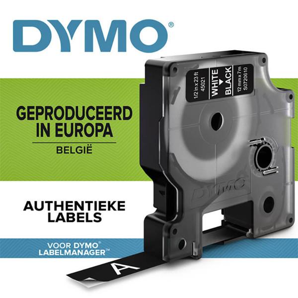 Bild von lettertape Dymo type D1 45021 12mm wit / zwart
