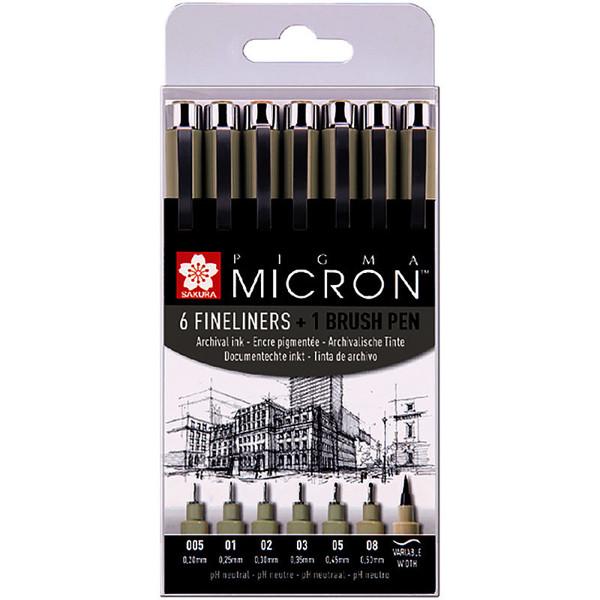 fineliner Sakura Pigma Micron set 6stuks + brushpen zwart
