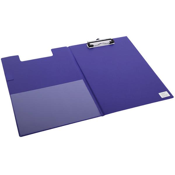 klembordmap Quantore A4 met omslag - 100mm klem + penlus - blauw