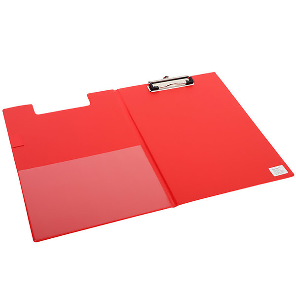klembordmap Quantore A4 met omslag - 100mm klem + penlus - rood