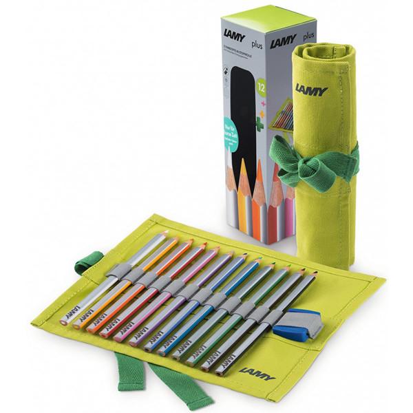 kleurpotloden Lamy Plus 12 kleuren in stoffen rol