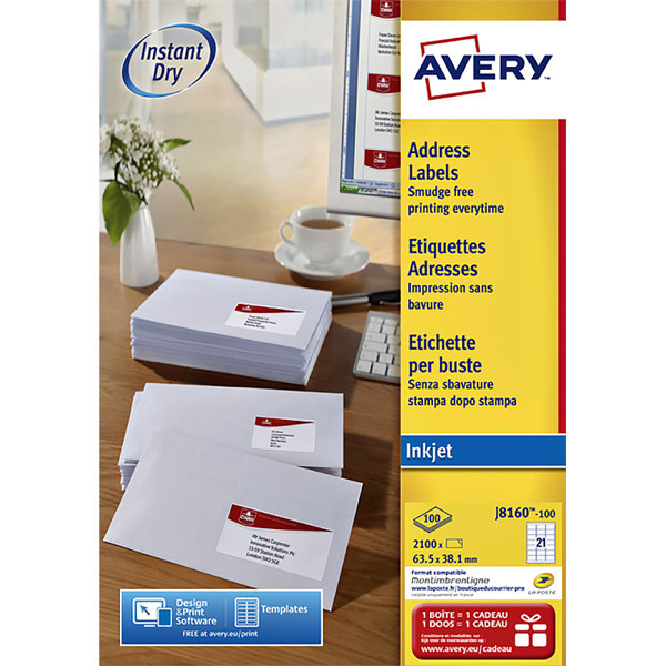 etiket Avery 63.5x 38.1mm 100vel J8160