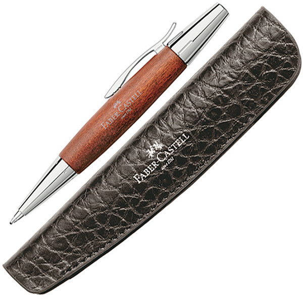 balpen Faber-Castell E-Motion Wood reddish brown met lederen etui