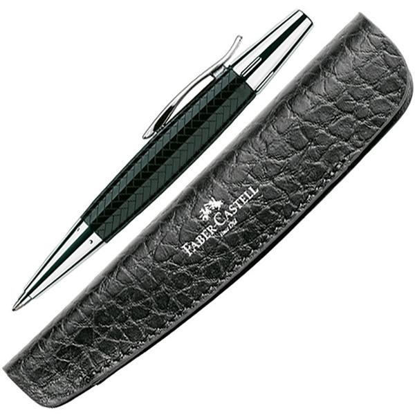 balpen Faber-Castell E-Motion Precious Resin Parquet black met lederen etui
