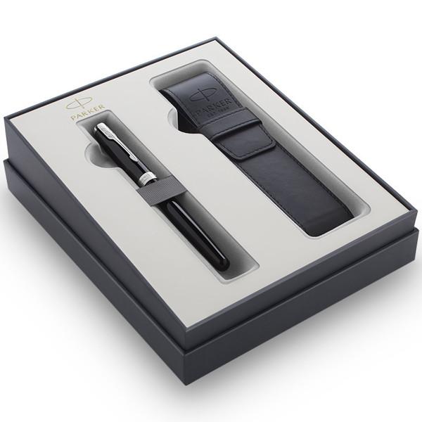 schrijfset Parker Sonnet vulpen Lacquer Black CT met pennenetui