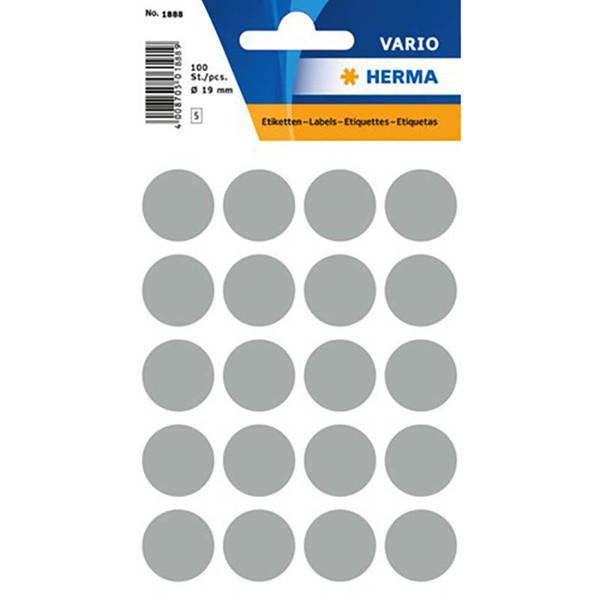 Afbeelding van etiket Herma   19mm rond 100stuks grijs
