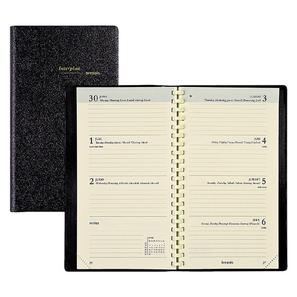 agenda Brepols 2022 Interplan Genova 89x160mm 7/2 - 6-talig - zwart