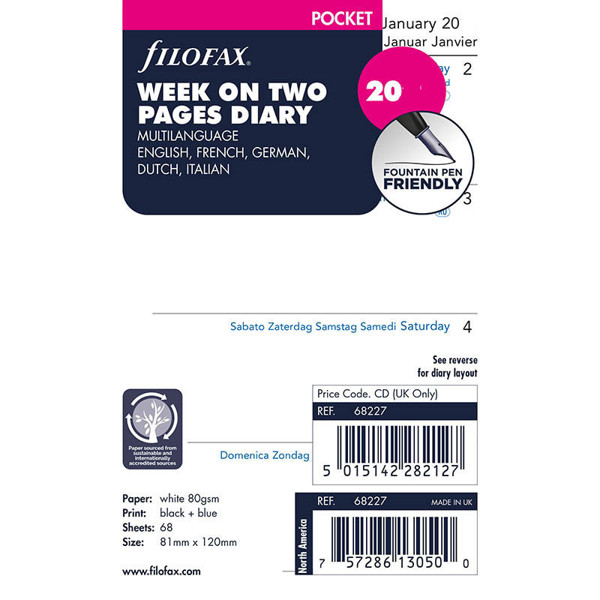 Bild von filofax Pocket calendarium 2022 7 dagen op 2 pagina's 5-talig blanco