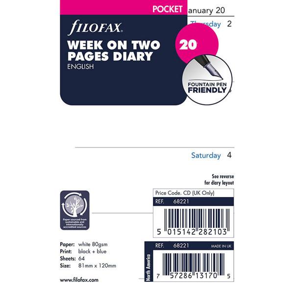 Bild von filofax Pocket calendarium 2022 7 dagen op 2 pagina's Engels blanco