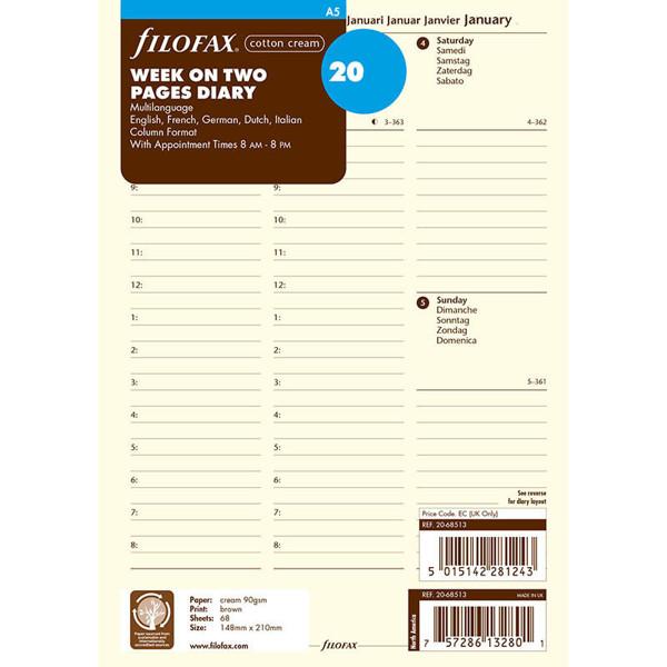 Bild von filofax A5 calendarium 2022 7 dagen op 2 pagina's + tijd kolommen cotton cream