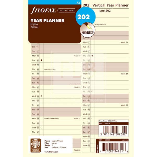 Bild von filofax A5 jaarplanner verticaal 2023 cotton cream