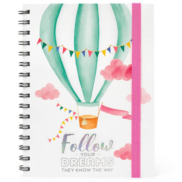 notitieboek Legami Large spiraal 160x210mm gelijnd - Air Balloon